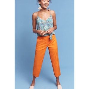 Anthropologie Orange Linen Pants